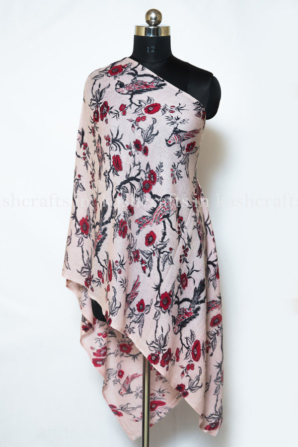 Cashmere Wool Floral Print Scarf