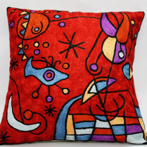 Hand Embroidered Silk Cushion Cover