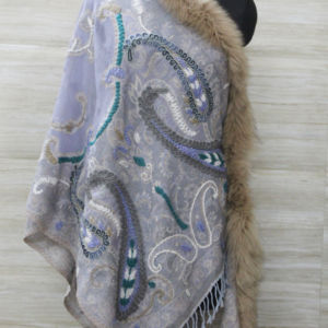 Gray Fox Fur Trimmed Cashmere Scarf