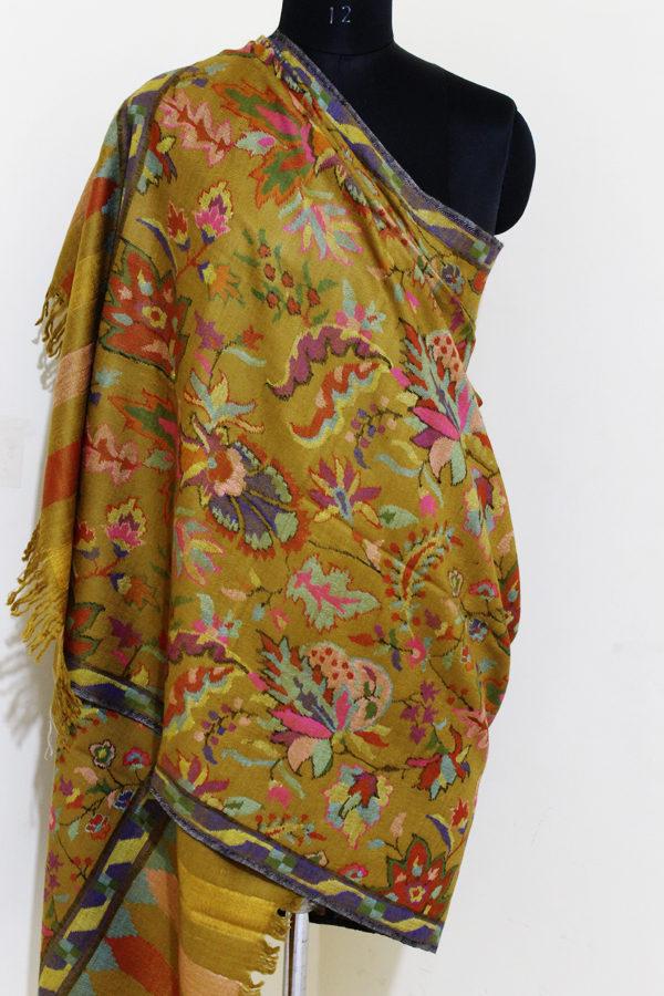 Autumn Magenta Woven Pashmina Kani Jamawar Shawl