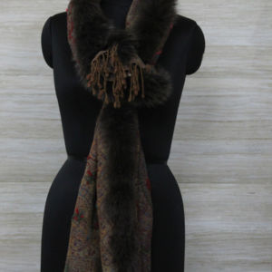 Cashmere Fox Trim Scarf