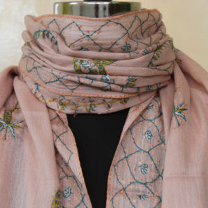 Embroidery Blush Pink Pashmina