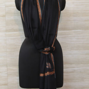 Midnight Black Cashmere Scarf