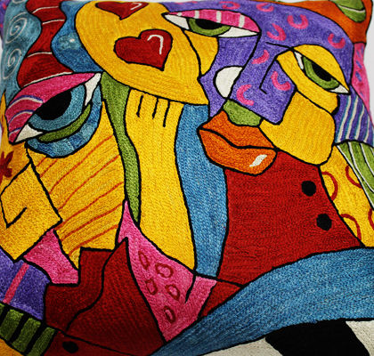 Silk Picasso Embroidery Pillow