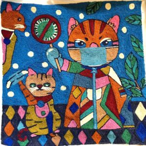 Covid Cat Cushion Cover