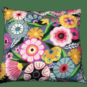 Kashmir Grey Flores Pillow